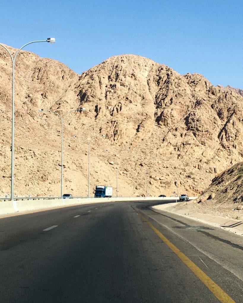 Driving in Jordan. The Desert Highway.