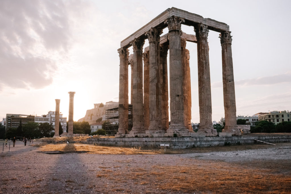 Best sunset viewpoints in Athens Temple of Olympian Zeus